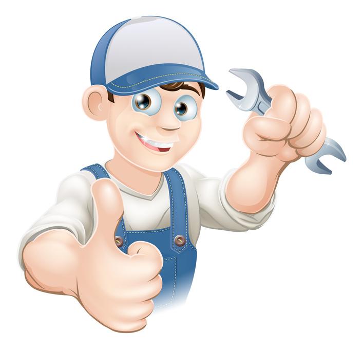 A cartoon handyman | gas furnace | A Plus Air Conditioning and Refrigeration